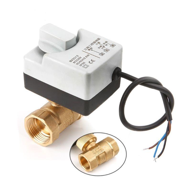 AC220V DN15 DN20 DN25 2 voies 3 fils laiton vanne à boisseau sphérique motorisée Actuato électrique avec interrupteur manuel livraison gratuite