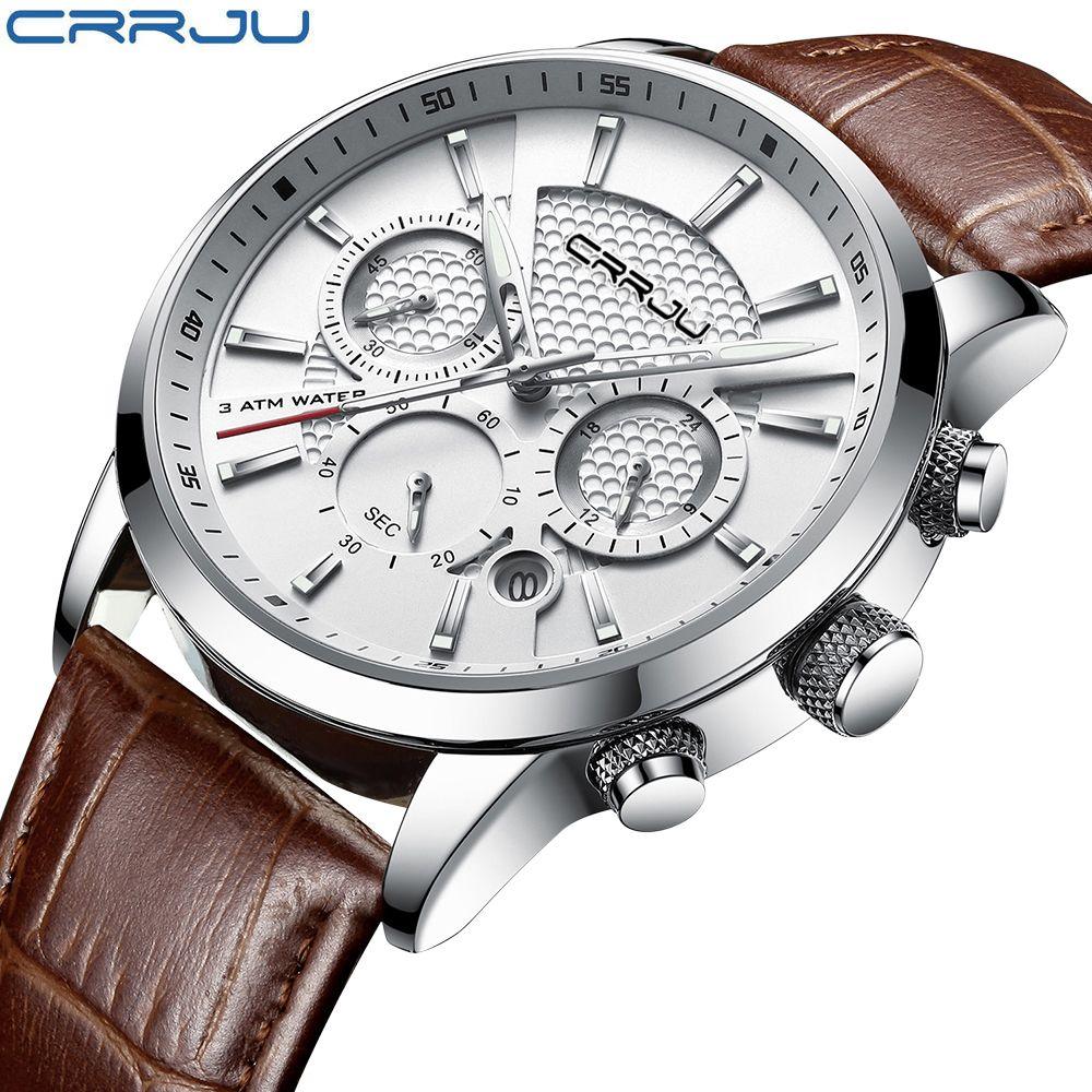 CRRJU nouvelle mode hommes montres montres à Quartz analogique 30 M étanche chronographe Sport Date bracelet en cuir montres montre homme