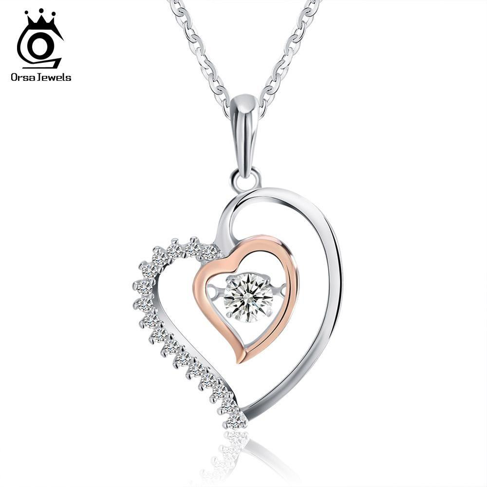 ORSA JOYAUX Véritable 925 Argent Double Coeur Pendentif Collier avec 0.3 ct Cristal Rhodium mixte Or Rose Couleur Colliers SN15