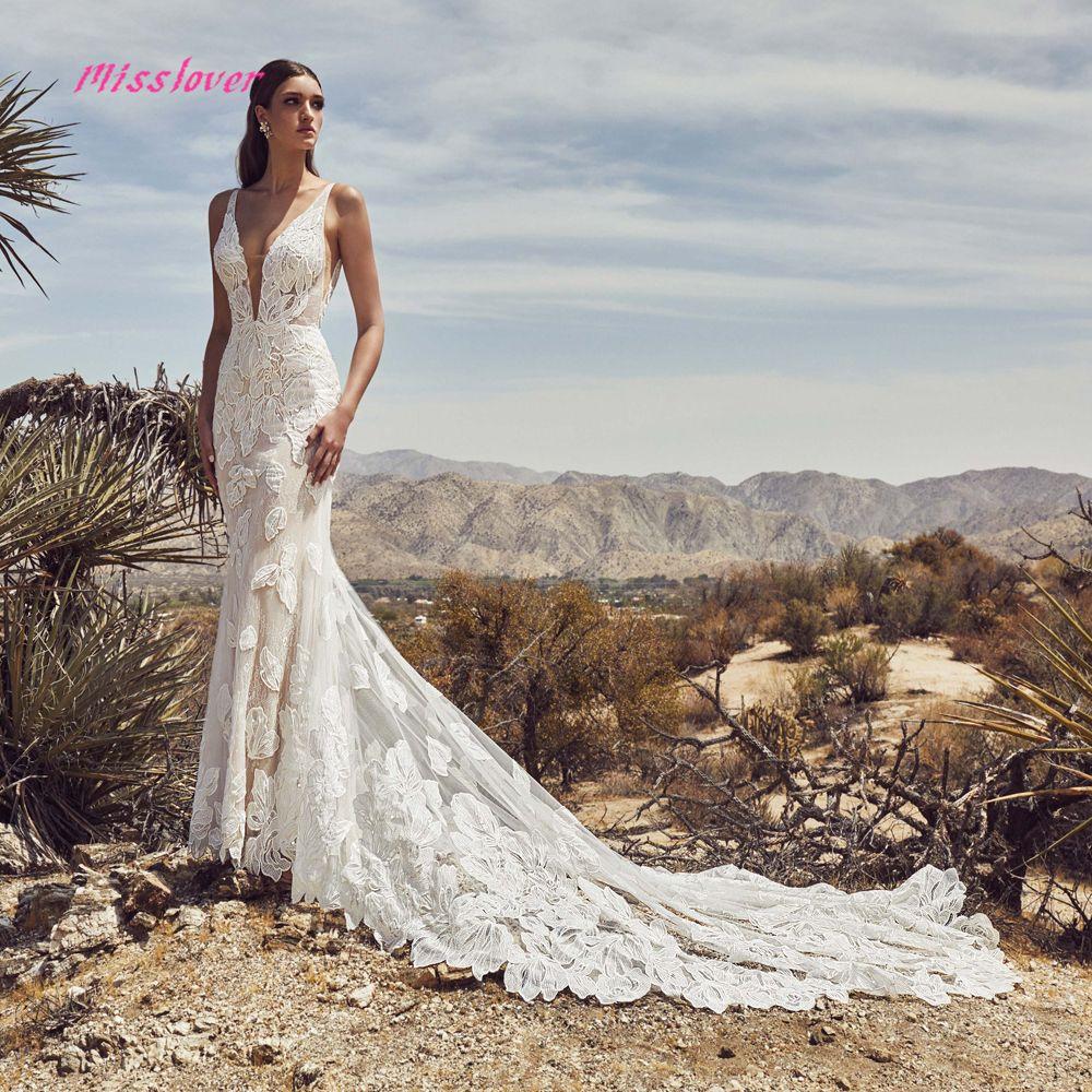 Seidige Organza Vestido De Noiva Luxus spitze Meerjungfrau Braut Hochzeit Kleid 2019 neue Brautkleid Sexy V-ausschnitt backless Robe de mariee
