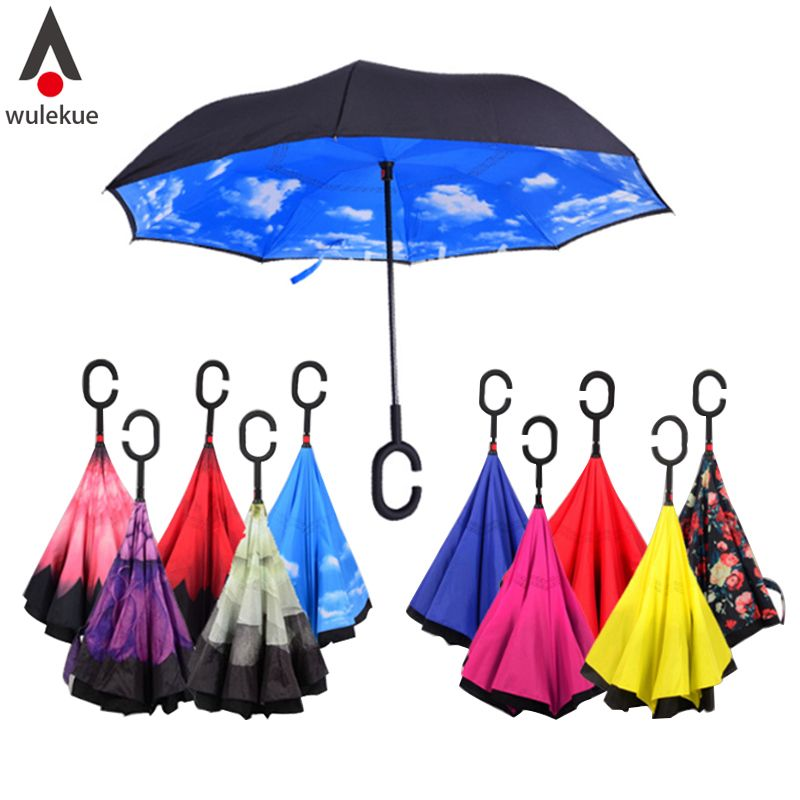Windproof Reverse <font><b>Folding</b></font> Double Layer Inverted Chuva Umbrella Self Stand Inside Out Rain Protection C-Hook Hands For Car