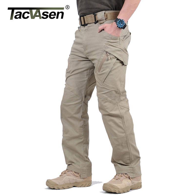 TACVASEN IX9 Men City Tactical Pants Multi Pockets Cargo Pants Military Combat Cotton Pant SWAT Army Casual Trousers JLTX-002-01