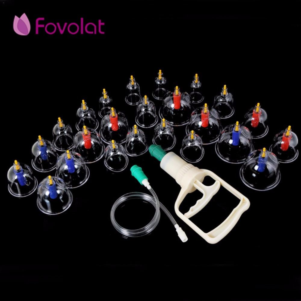 24pcs Body Massage Vacuum Cupping Set Thicker Magnetic Aspirating Cupping Cans Acupuncture Massage Suction Pump Chinese Massage
