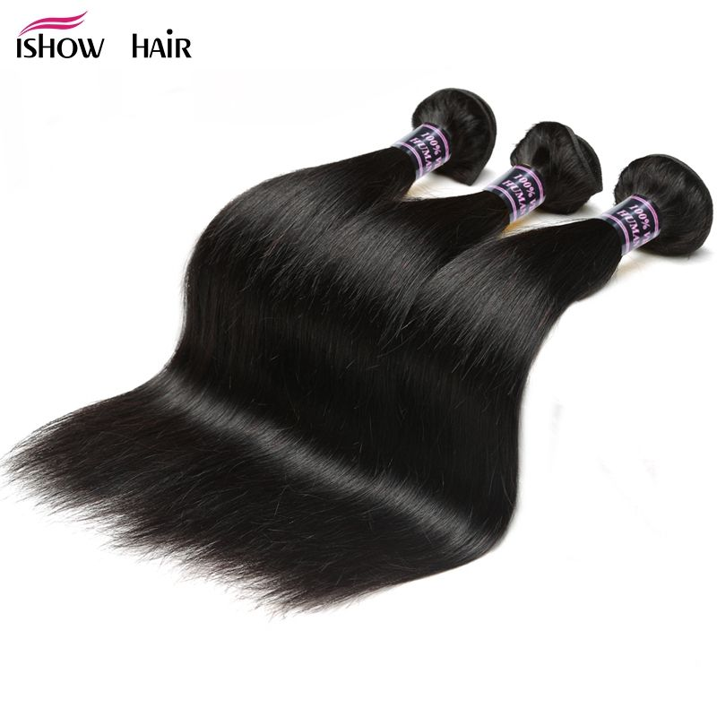 Ishow Hair Malaysian Straight Hair 3 Bundles Deal 100% Non Remy <font><b>Human</b></font> Hair Weave Bundles Natural Black Silky Straight Bundles