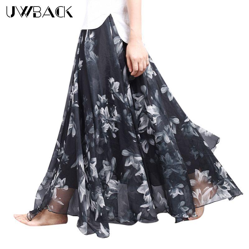 Uwback Women Chiffon Skirt Floral Floor Length Women Long Maxi Skirts <font><b>Loose</b></font> Boho Beach Skirt 2018 New Summer Fashion Wear, EB129