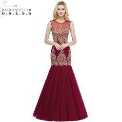 Robe de Soiree Longue Sexy Transparent Burgund Meerjungfrau Spitze Lange Abendkleid Elegante Tüll Abendkleid Vestido de Festa
