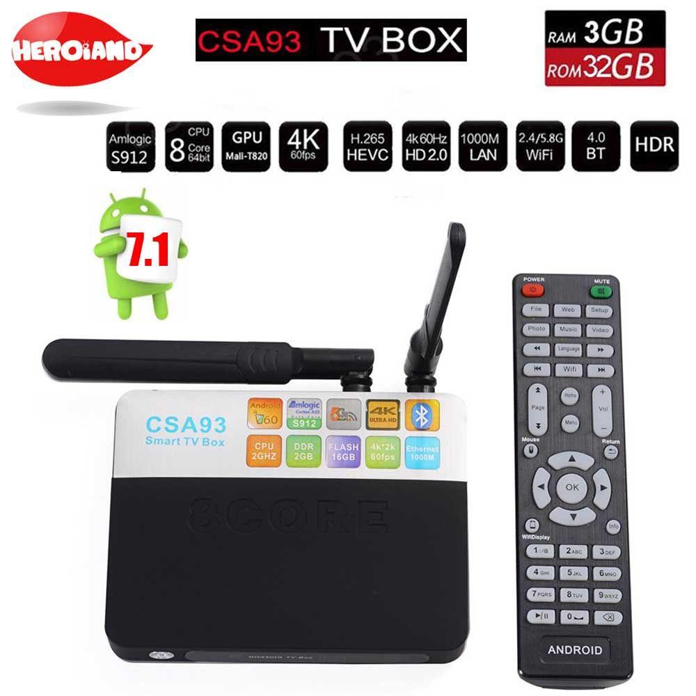 CSA93 Android 7.1 TV Box 3GB 32GB Amlogic S912 Octa Core 3D 4K Streaming Media Player Wifi 1000M BT Smart Mini PC set tv box