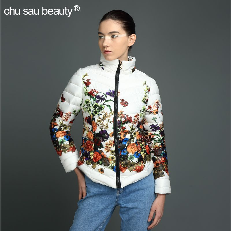 2017 Sale Real Chu Sau Beauty 2017new Warm Wear Wadded Jacket Female Winter Parkas Women Slim Print Casacos De Inverno Feminino