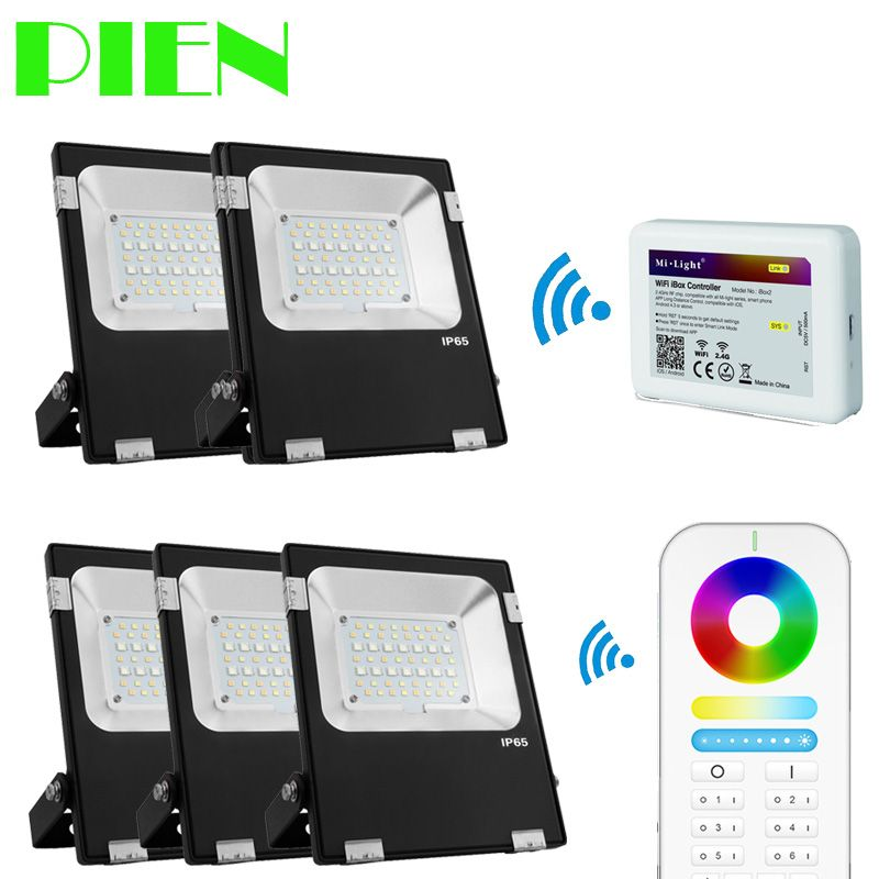 Wifi Floodlights RGB CCT LED Outdoor Spotlight Waterproof exterior 10W 30W 50W + 2.4G 6 Group RF Remote + Wifi hub by DHL 5pcs
