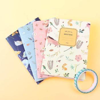 4 Pcs/ensemble Kawaii Mignon Fleurs Oiseaux Animaux Portable Peinture de Journal Livre Journal Record Office Fournitures Scolaires