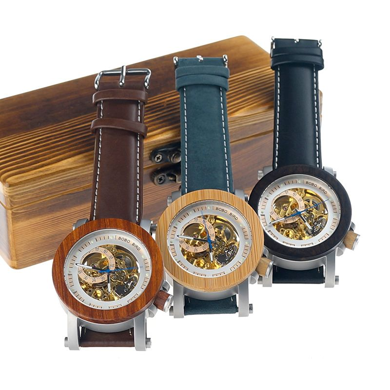 BOBO BIRD Mechanical Fashion Watches Men Automatic Waterproof Business Watch in Gift Box Color Optional