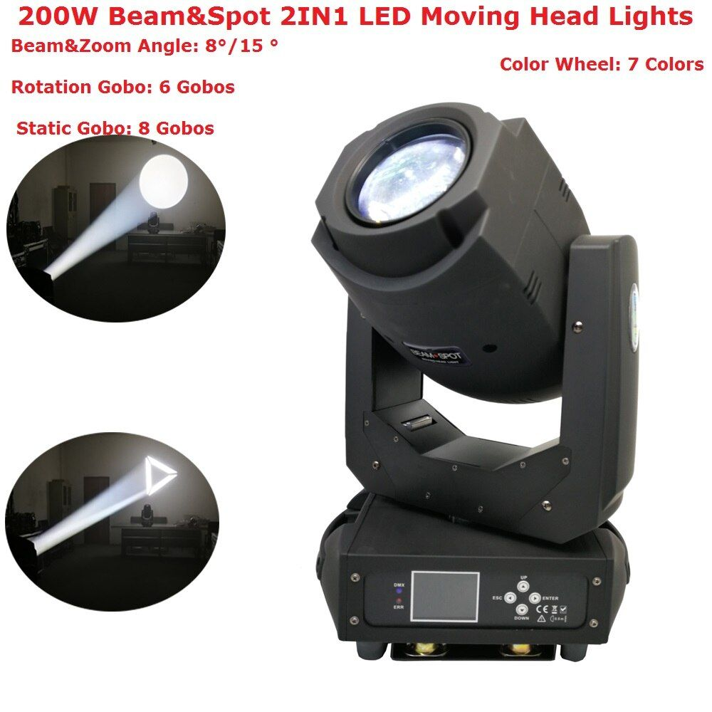 2018 Stage Lighting Equipments 200W Beam Spot 2IN1 LED Moving Head Lights LCD Display With 6 Rotating Gobos and 8 Static Gobos