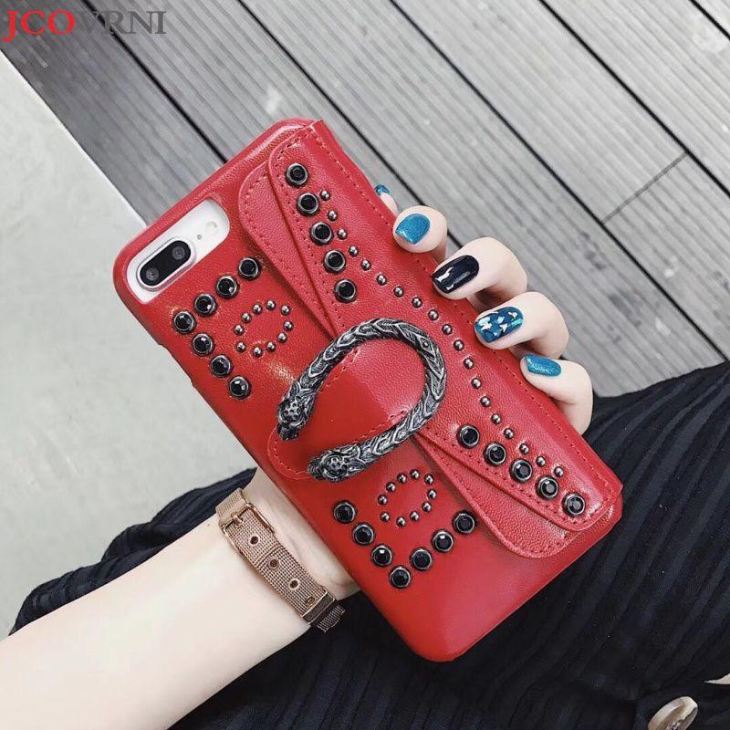 JCOVRNILuxury ladies Baccarat diamond pendant for iPhoneX phone back cover for Apple 7 i8plus i6 6s card phone case coque