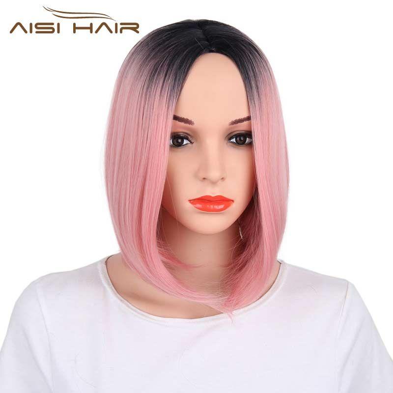 Я в парик Ombre розовый Боб Стиль прямые Искусственные парики для черный Для женщин высокой температуры Волокно