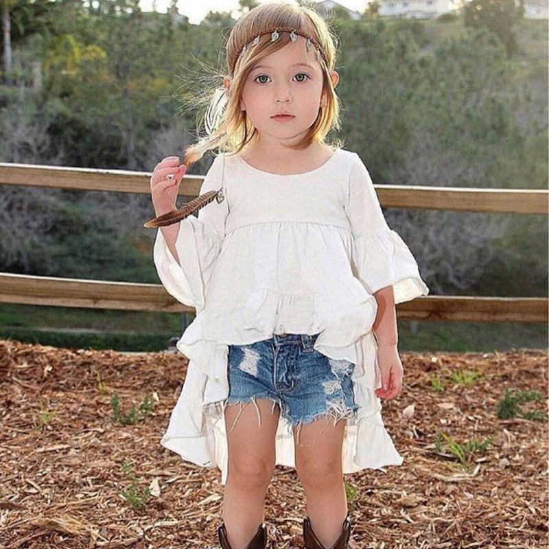 Jilly Uni Nouveau Printemps coton pour filles 2 ~ 9 ans livraison cut blanc flare manches princesse robe de mode fille robe d'été 2019