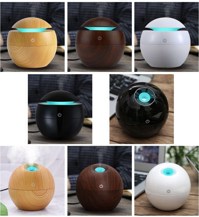 Mini Wooden Aromatherapy Humidifier Aroma Diffuser Essential Oil Diffuser Air Purifier Color Changing LED <font><b>Touch</b></font> Switch