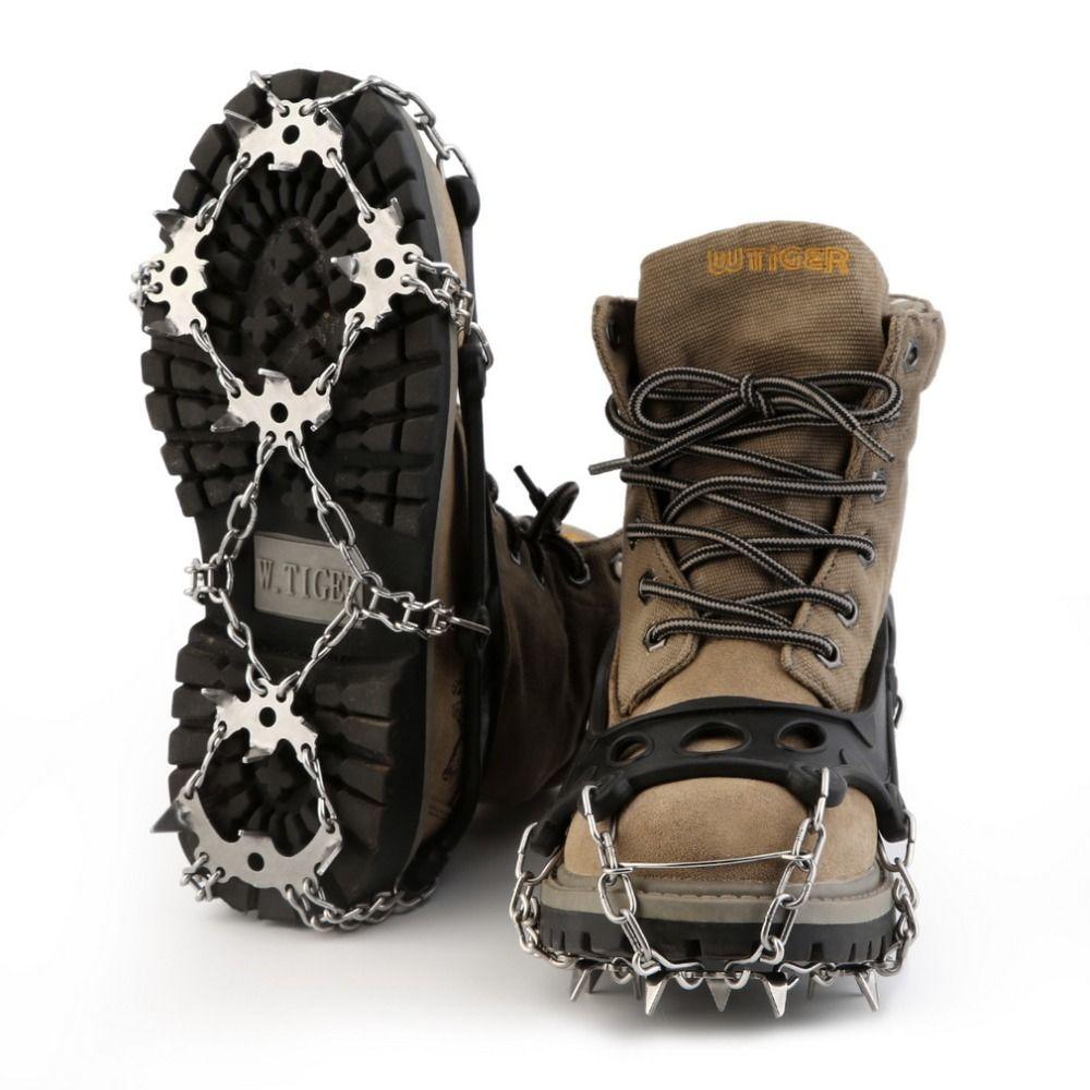 OUTAD 18 Zähne Edelstahl Steigeisen Hohe Qualität TPR Wandern Traktion Schuh Steigeisen Stollen Für Schnee Und Eis Fuß Protector