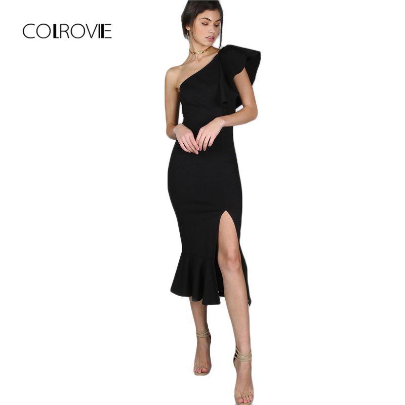 COLROVIE robe de soirée noire femmes une épaule à volants ourlet Peplum Sexy élégant robes d'été mince à volants fendu robe moulante