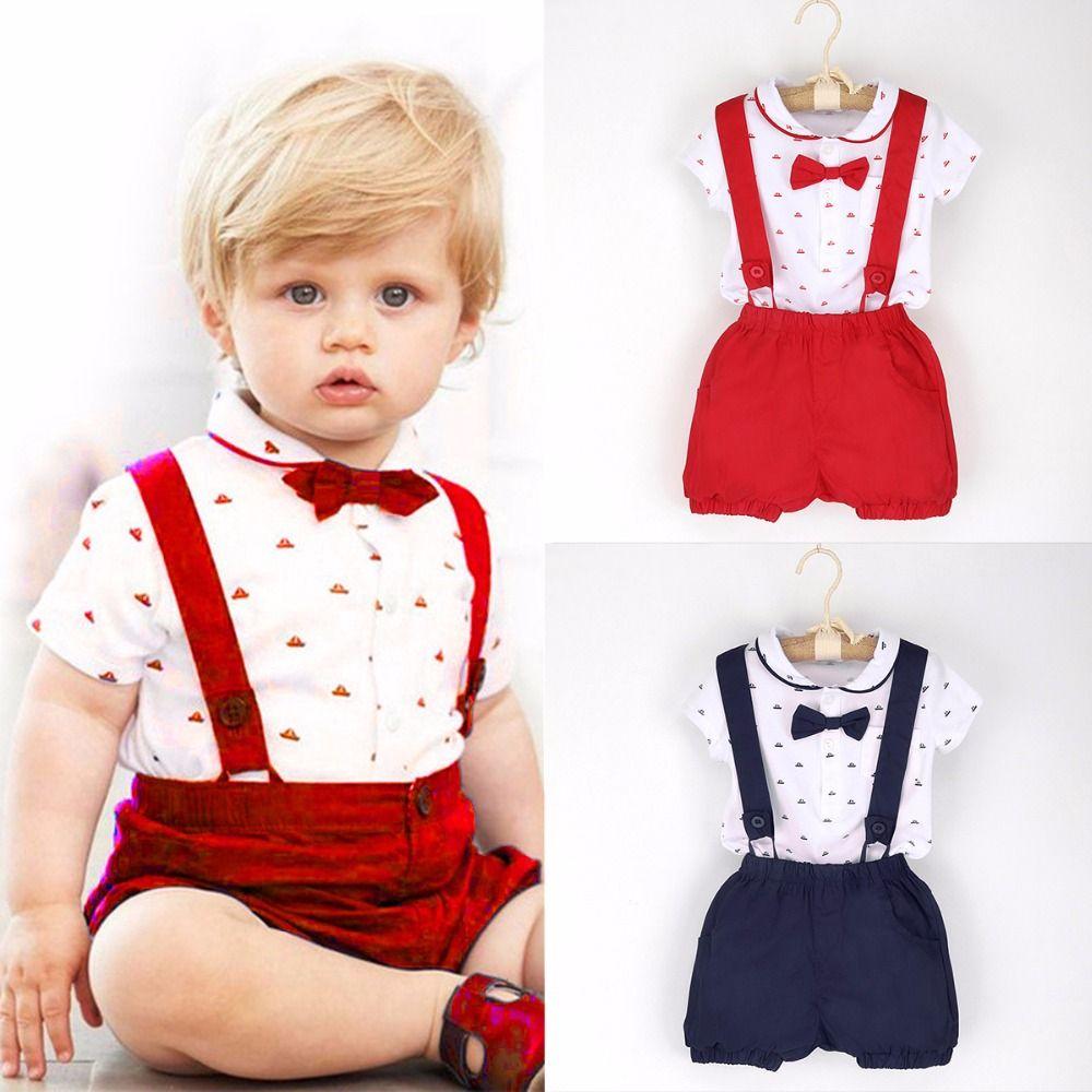 2018 D'été 2 pcs Enfant Bébé Enfants Vêtements Infantile Garçons Gentleman Tenues T-shirt Barboteuse Tops + Jarretelles Shorts Ensemble 1-6 T