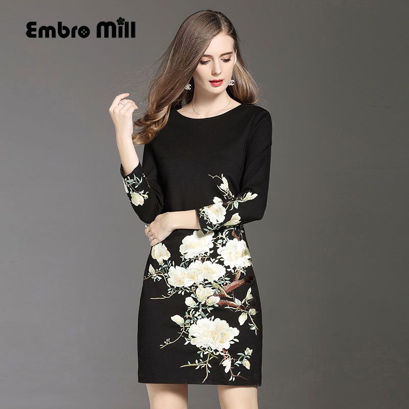 High quality black dress for women autumn & winter O-neck wrist sleese embroidery slim lady A-line floral casual dresses M-5XL
