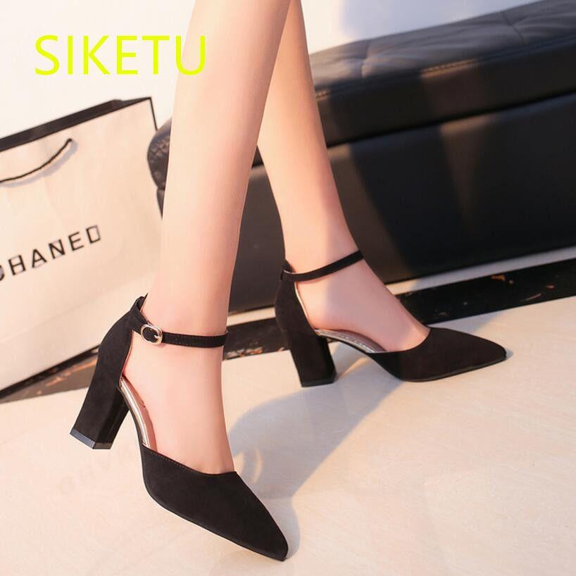 SIKETU 2017 Envío gratis Primavera y otoño de tacón alto Salvajes zapatos de moda zapatos de las mujeres sandalias de Verano zapatos de trabajo Salvaje bombas g053