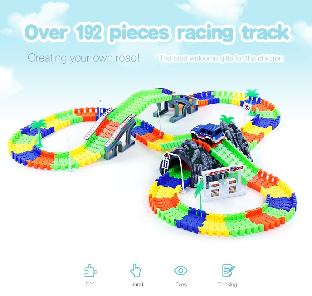 Funny Race Track with Car 26/96/144/192Pcs Glow Racing Track Set Toys Flex Flash Assembly Twister Car Vehicle Toy Gifts for Kids