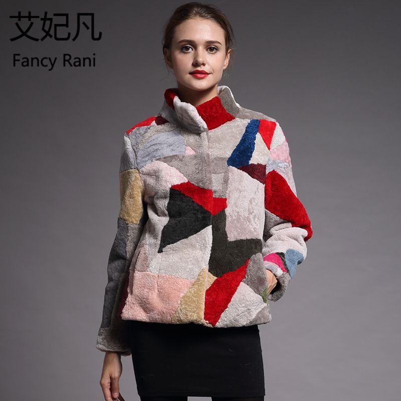 Real Fur Sheepskin Coat Women Winter Colorful Genuine Wool Coats Female Stand Collar Winter Warm Sheep Shearing Jacket Outercoat