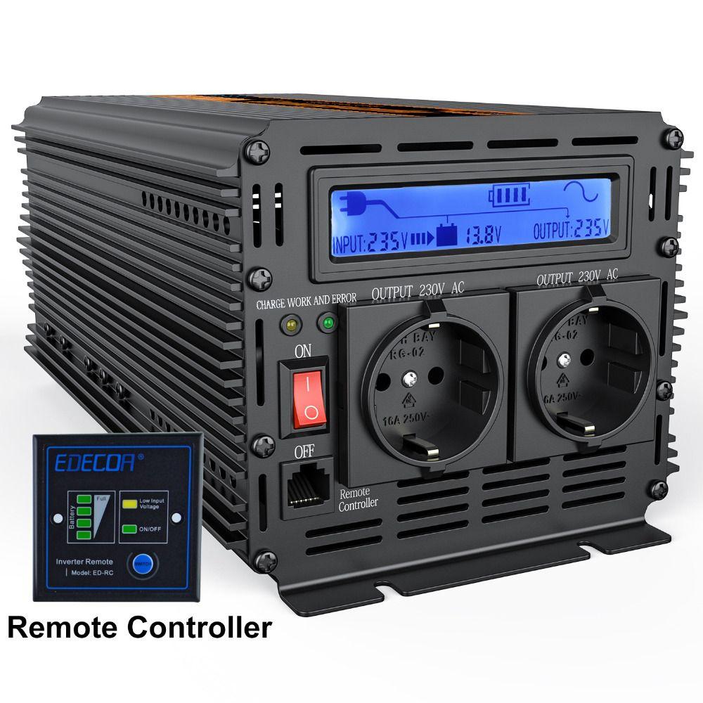 UPS onduleur onde sinusoïdale pure 2500 W DC 12 v à AC 220 v LCD affichage Onduleur + Chargeur et UPS, Calme et de puissance de Charge Rapide fournir
