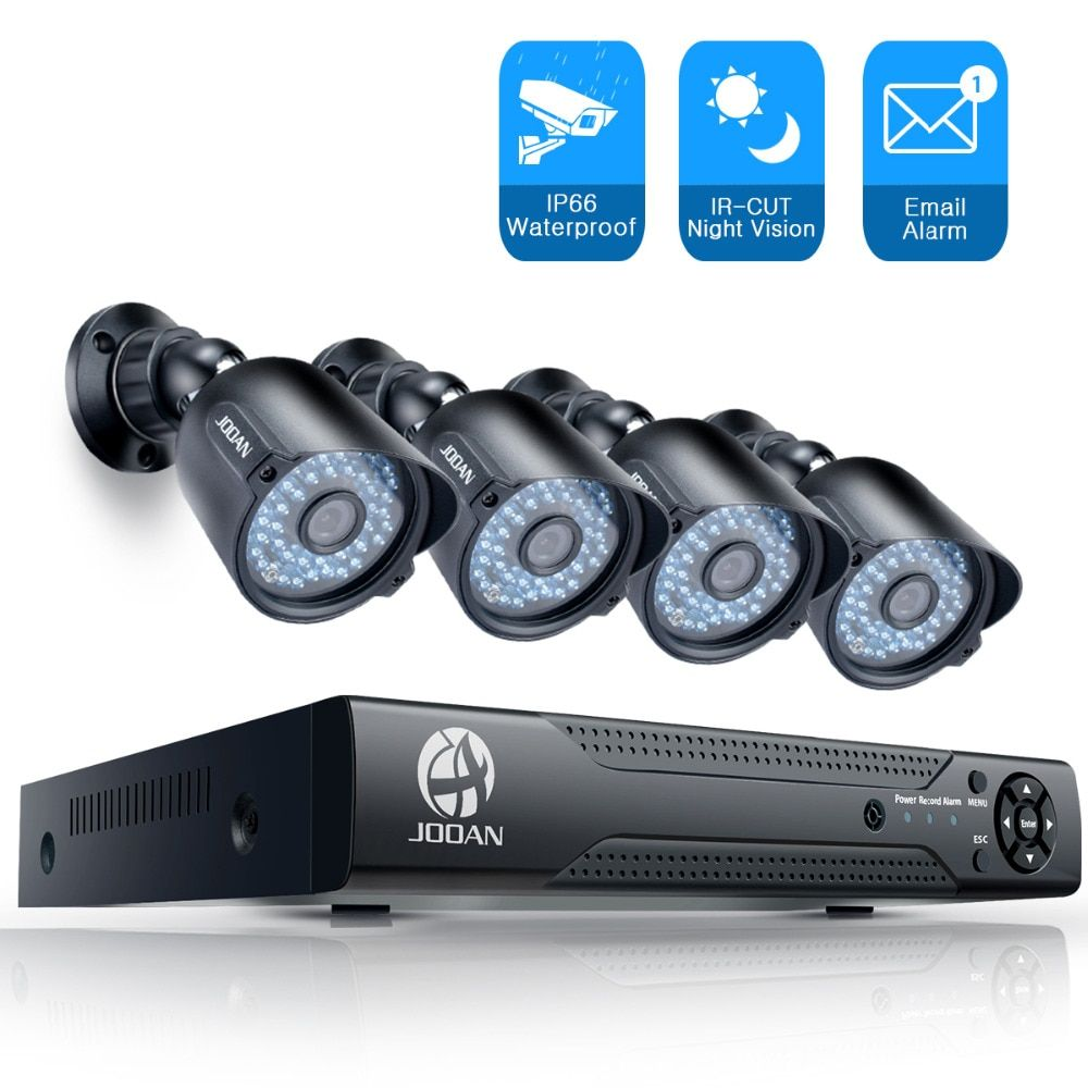 JOOAN Security Camera System 4CH 1080N CCTV DVR 4pcs 1000TVL Outdoor IR Light Night Vision Video Surveillance CCTV Kit