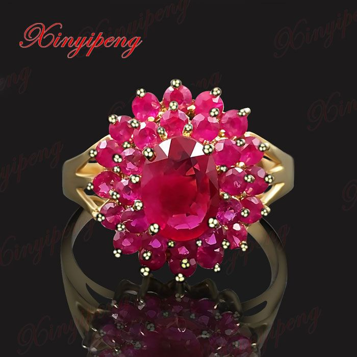 Luxury star with 18 k gold pigeon eggs natural ruby ring women to quit Precious colored gems The real thing