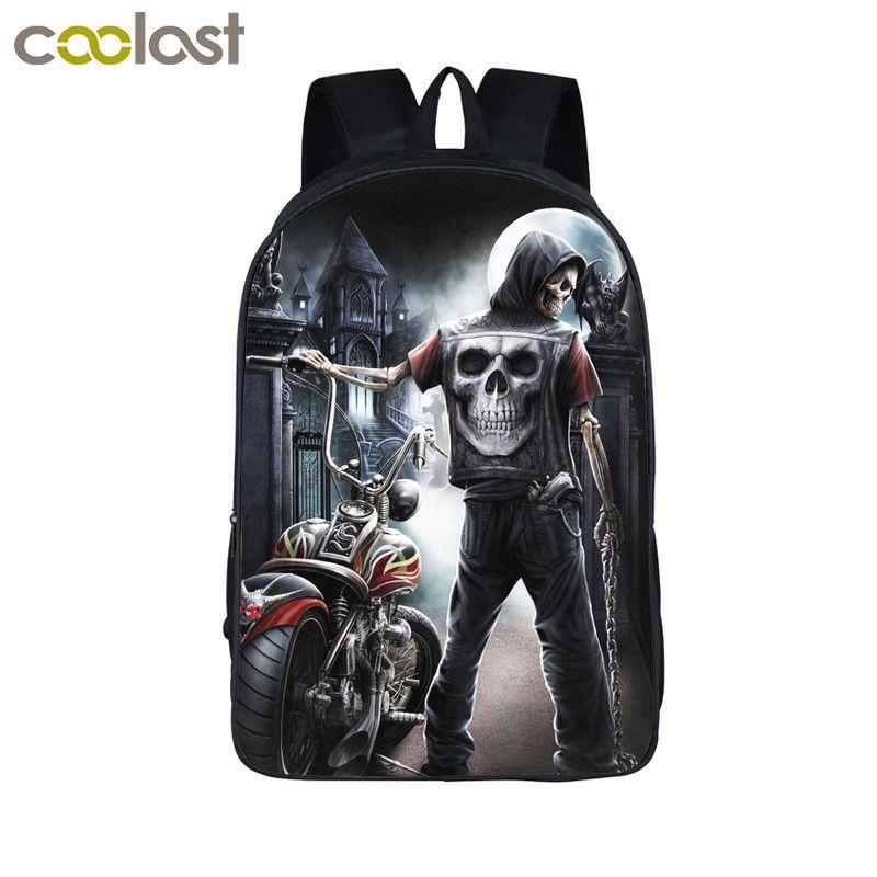 Cool Gothic Grim Reaper Skull Backpack For Teenagers Men Women Travel Bags Boys Girls Children School Backpack Bags Best Gift
