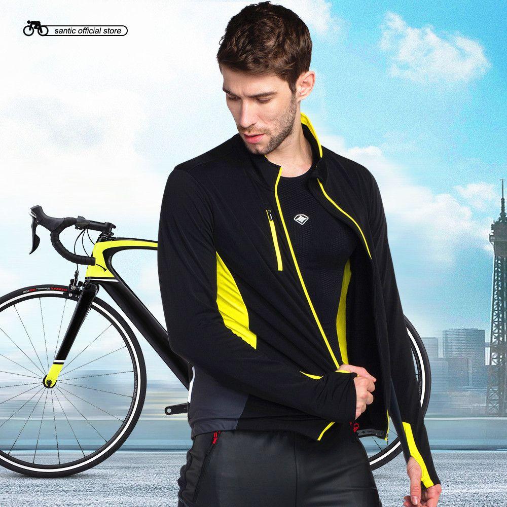 Santic Männer Radfahren Jacken Mehrere Stoffe Schwarze-Gelb Warm Halten Herbst Winter Radfahren Clothings KC6103Y