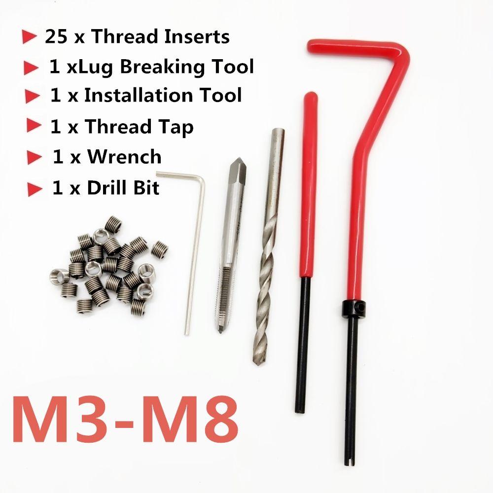25 pièces voiture moteur bloc restauration endommagé fil réparation Kit d'outils M3 M4 M5 M6 M7 M8 Auto hélicoïdal bobine Insert Garage outils