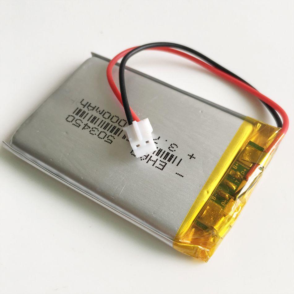 3.7 V 1000 mAh 503450 Lithium polymère LiPo batterie Rechargeable JST PH2.0 2pin pour Mp3 DVD PAD montre intelligente caméra enregistreur haut-parleur