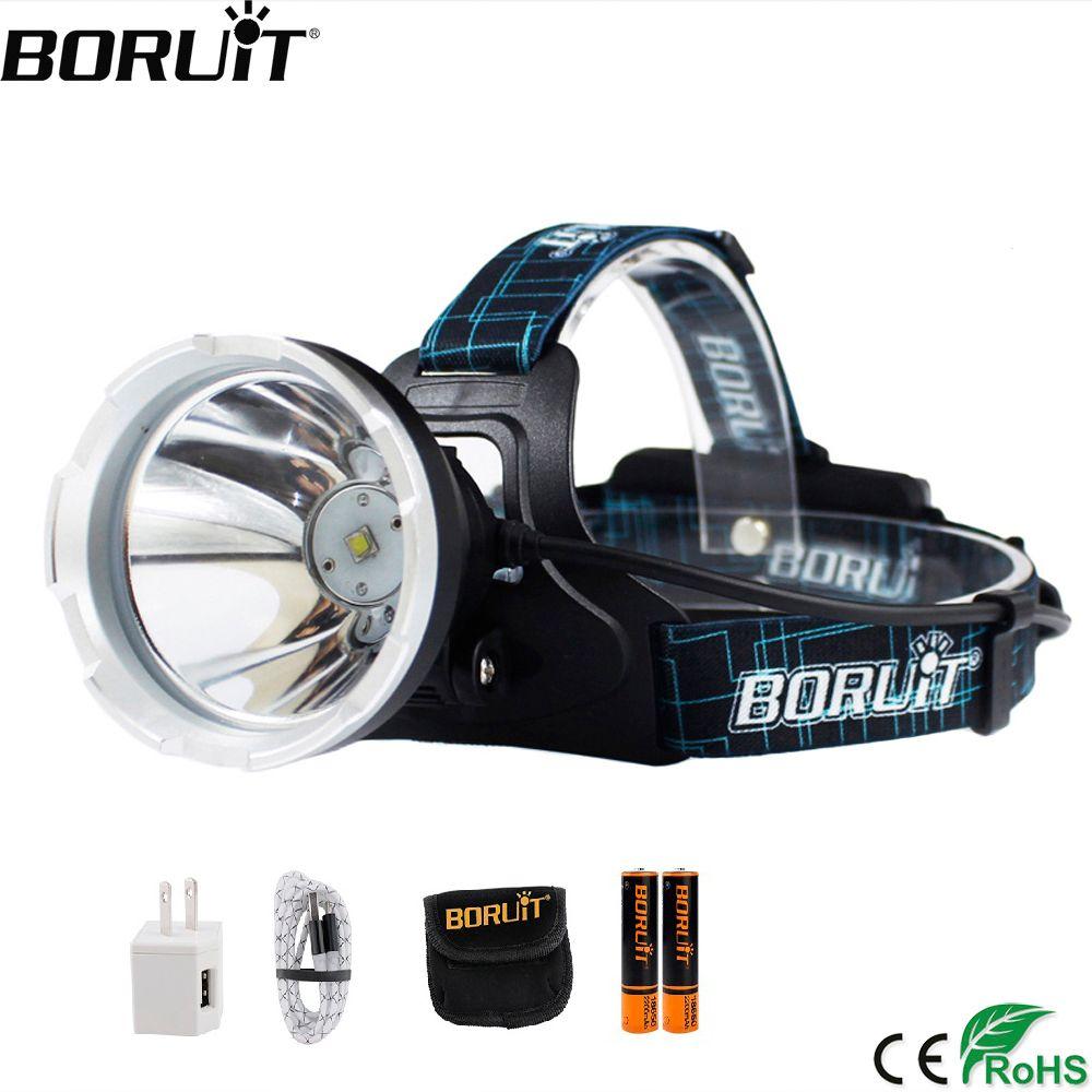 BORUIT B10 XM-L2 phare LED 3 modes 6000LM phare Micro USB Rechargeable tête torche Camping chasse étanche lampe de poche