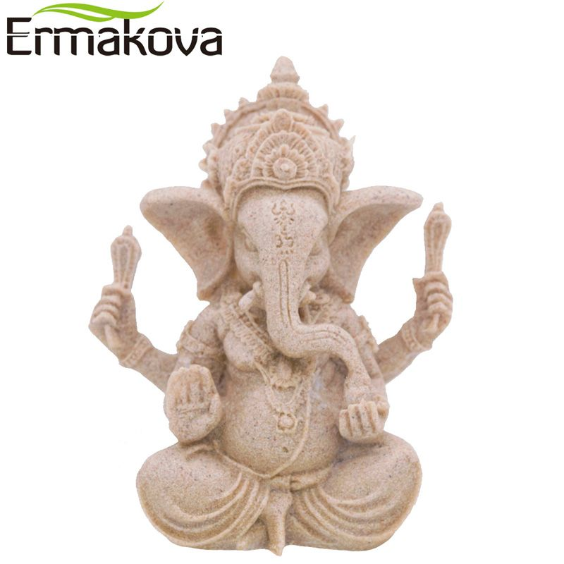 ERMAKOVA Large Indian Ganesha Figurine Fengshui Elephant Sculpture Elephant-Headed Hindu God Natural Sandstone Buddha Statue