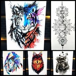 25 Styles New Watercolor Tiger Fox Wolf Temporary Tattoo For Men Women Fake Tatoo Body Art Decals Waterproof Arm Tattoo Stickers