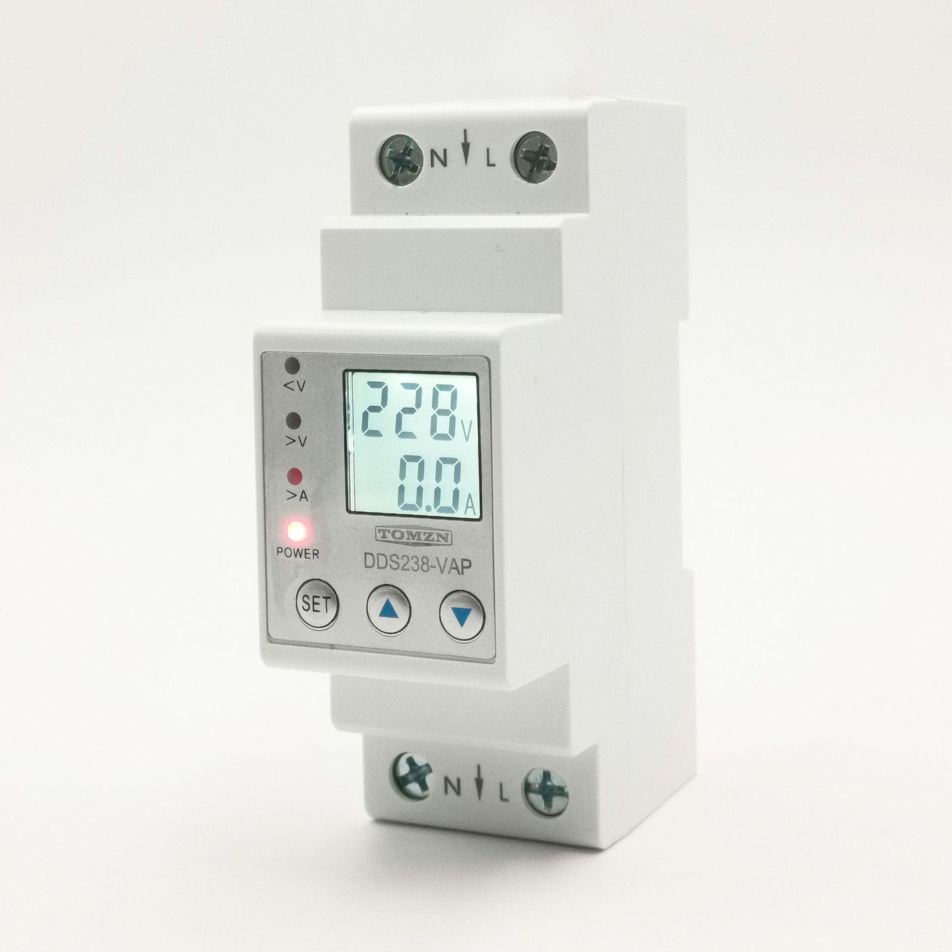 63A 80A 110V 230V Din rail adjustable over under voltage protective device current limit protection Voltmeter ammeter Kwh