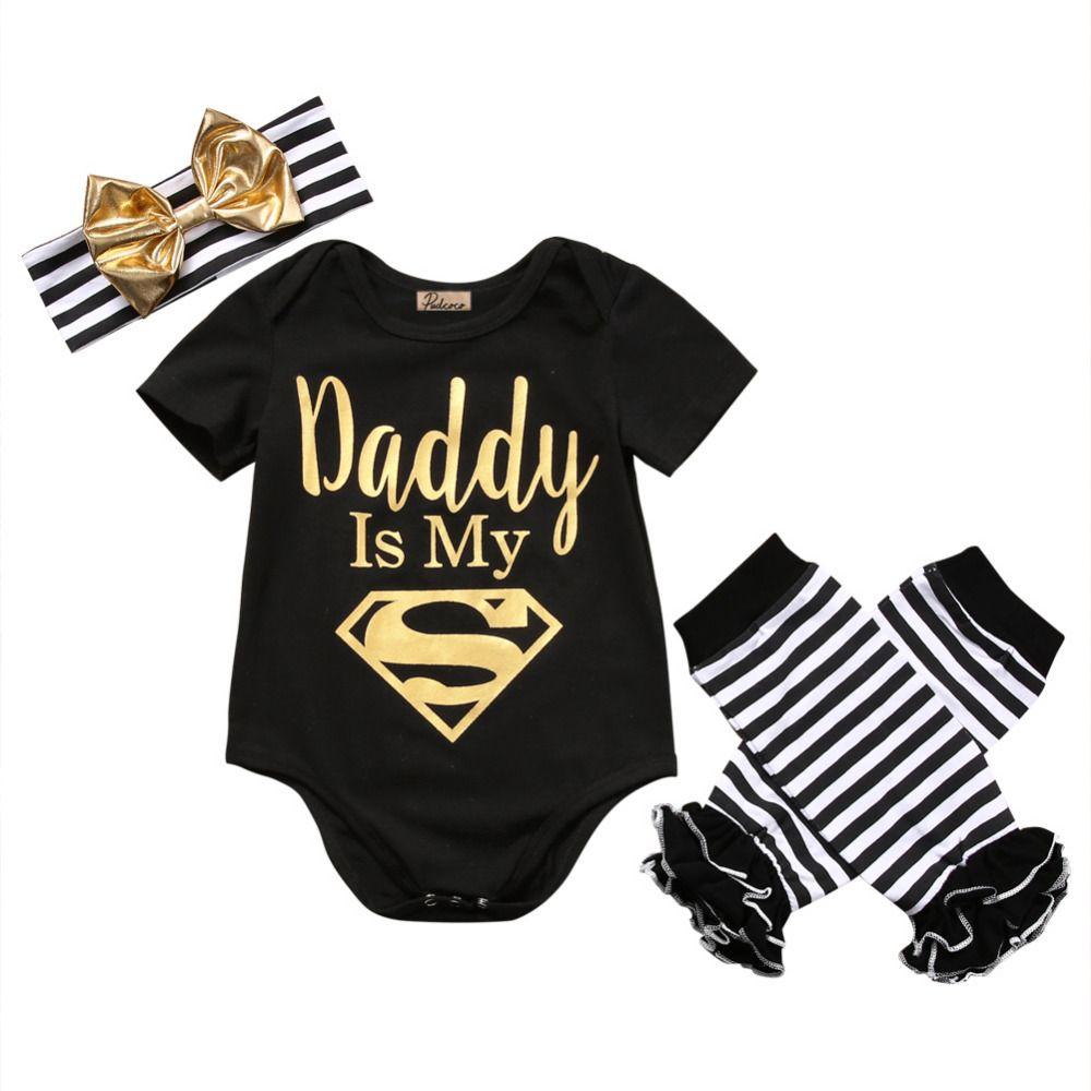 Bébé filles vêtements ensembles nouveau-né infantile bébé filles vêtements lettre barboteuse + rayé jambières bandeau tenue ensemble 3 pièces