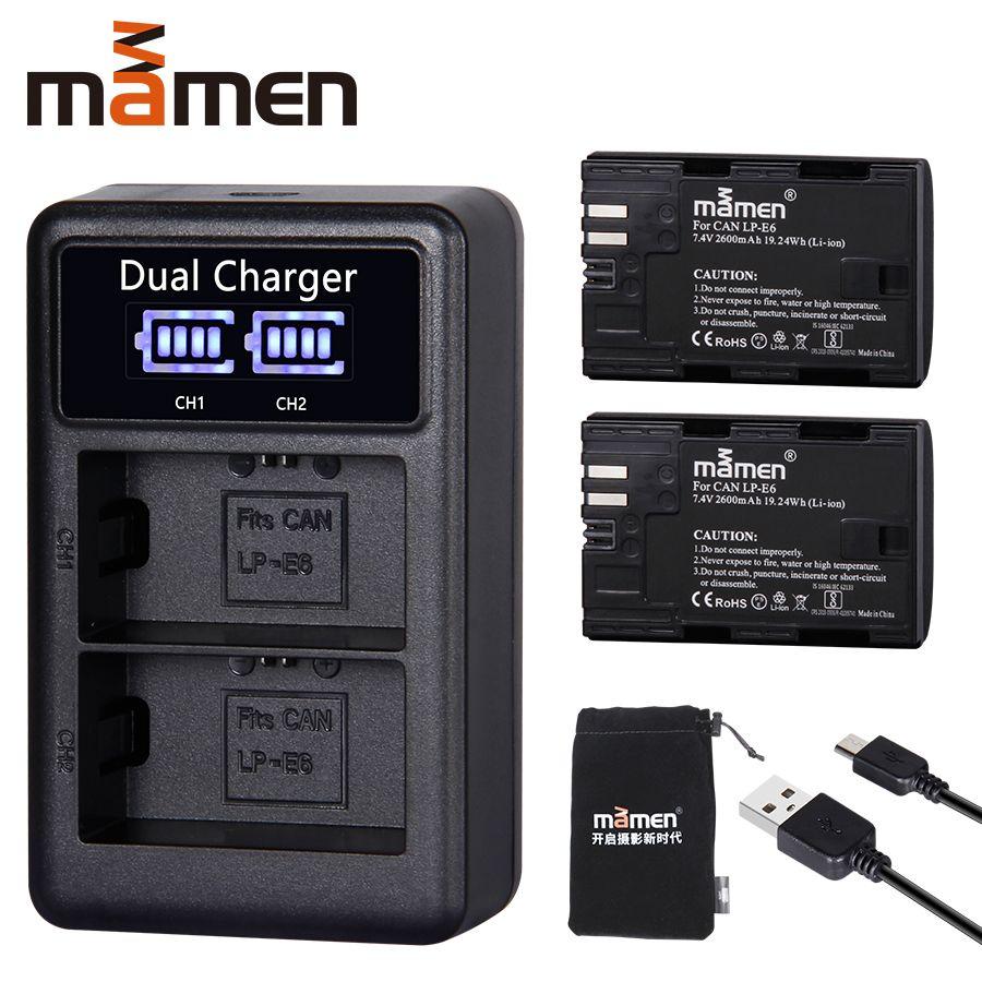 2600 mAh LP E6 LP-E6 LPE6 batterie appareil photo numérique + USB LCD double chargeur pour Canon Mark II Mark III 6D 7D 60D 60Da 70D 80D 5DS 5D