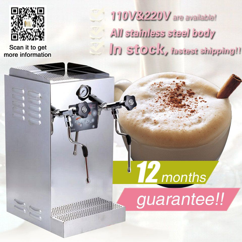 Espresso machine commercial milk steamer milk frother and the other head is making bubble both