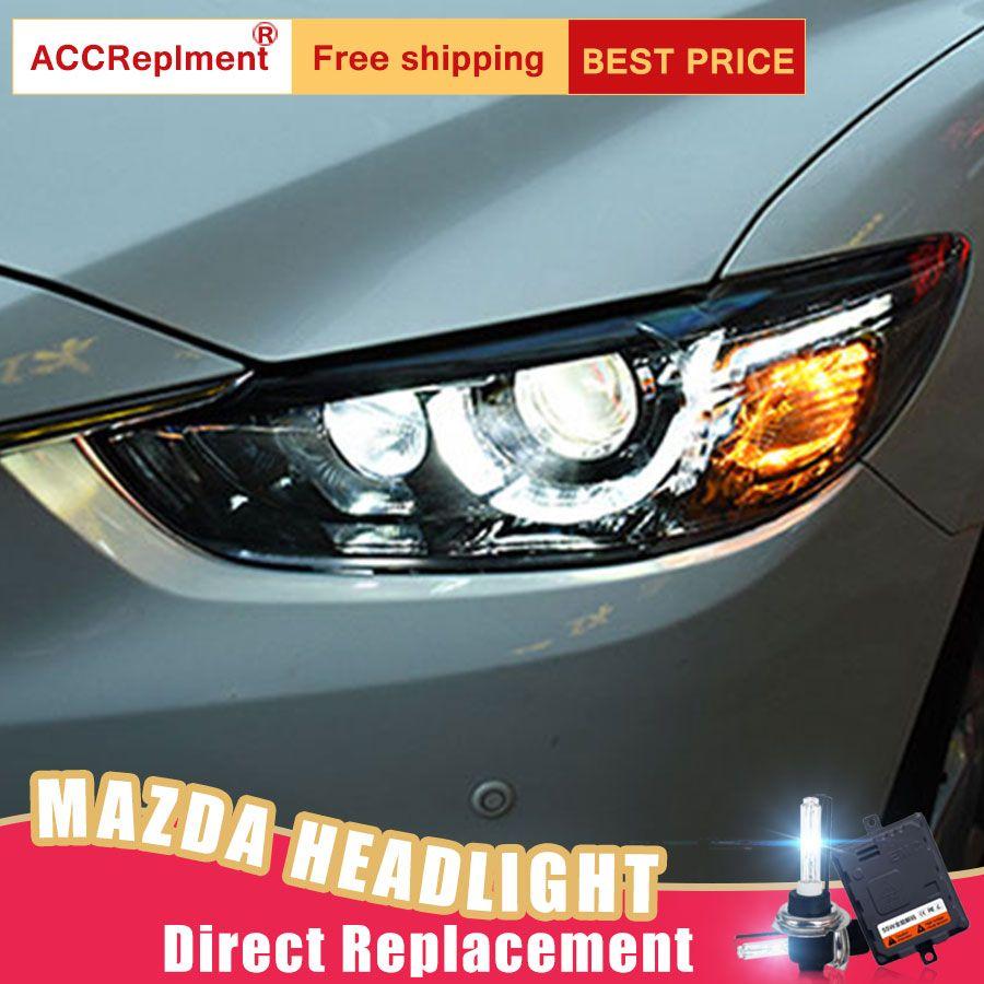 2Pcs LED Headlights For Mazda 6 2014-2017 led car lights Angel eyes xenon HID KIT Fog lights LED Daytime Running Lights