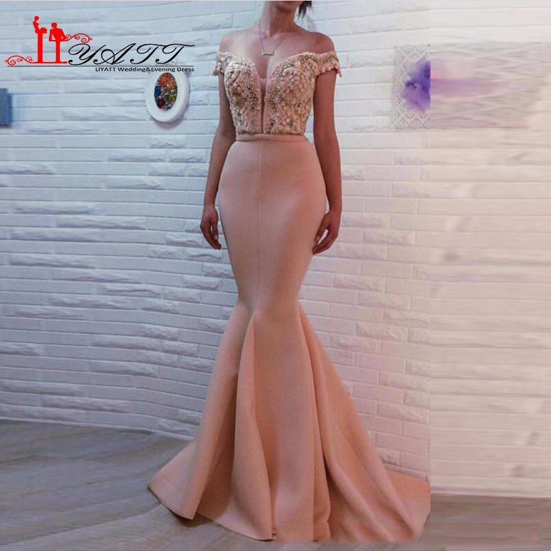 LIYATT vestidos de fiesta 2016 Pink Handmade Beads Pearls Arabian Sexy Mermaid Evening Prom Dress Women Gown vestido de noiva