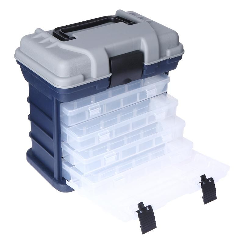 Portable Multi-Layer Fish Lures Container Durable Fishing Bait Tackles Storage Box Case with 4 Movable Bait Boxes