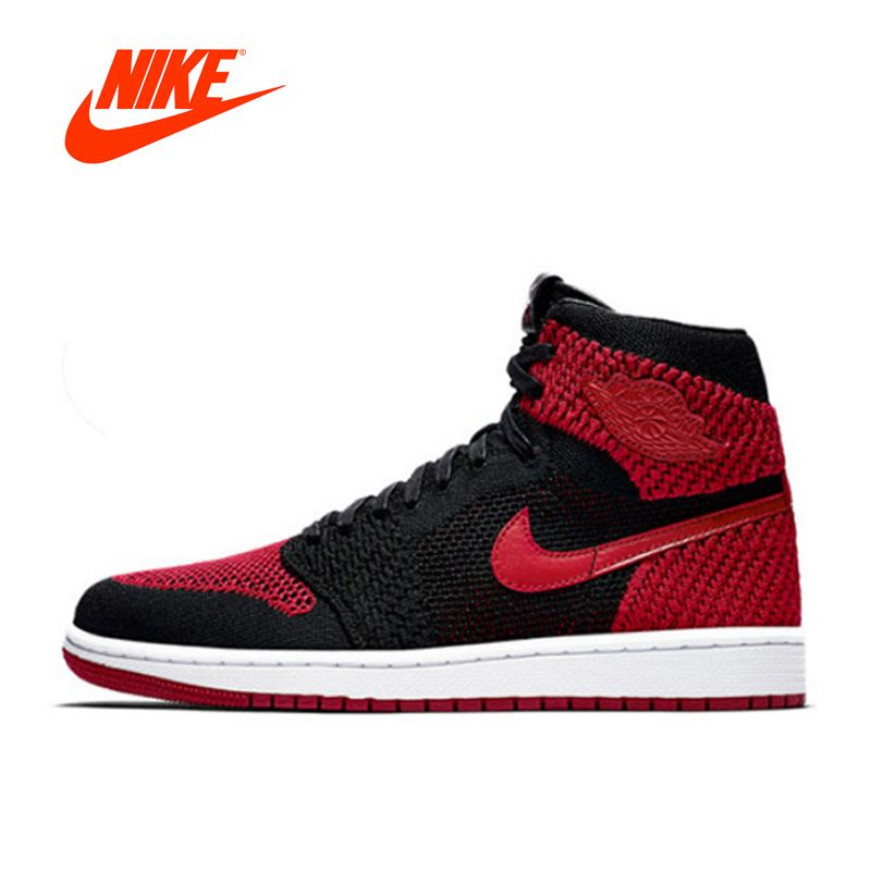 Original New Arrival Authentic Nike Air Jordan 1 Flyknit AJ1 Men's Breathable Basketball Shoes Sport Outdoor Sneakers 919704-001