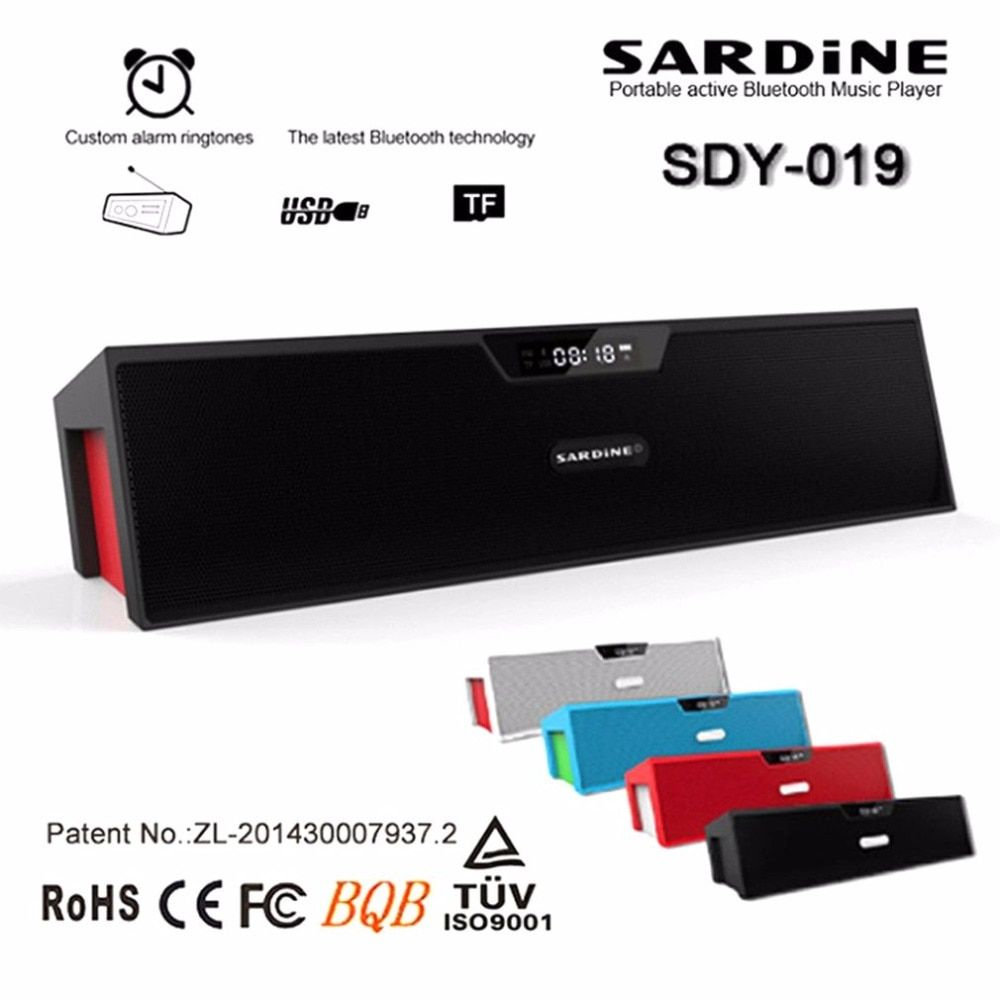 SARDiNE Portable Bluetooth Speakers with Alarm clock Super Bass Wireless Stereo Music LCD Time Display FM Radio Built-in Mic