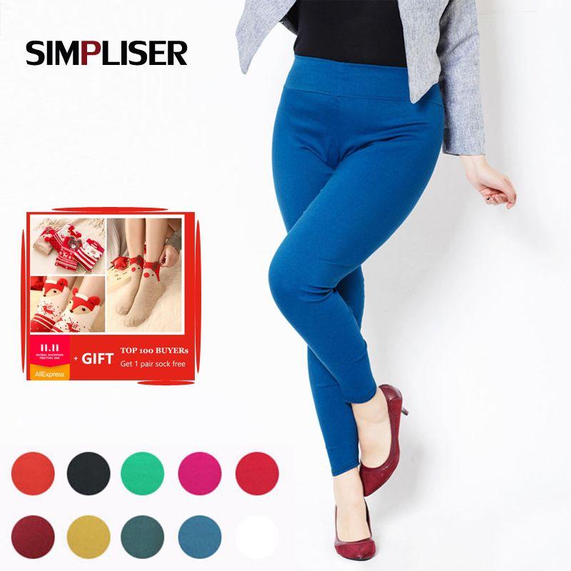 Taille haute Femmes Crayon Pantalon 2017 De Couleur de Sucrerie Leggings PLus La Taille 5XL 6XL Dames Occasionnels pantalon Blanc Noir Rouge Femme pantalon