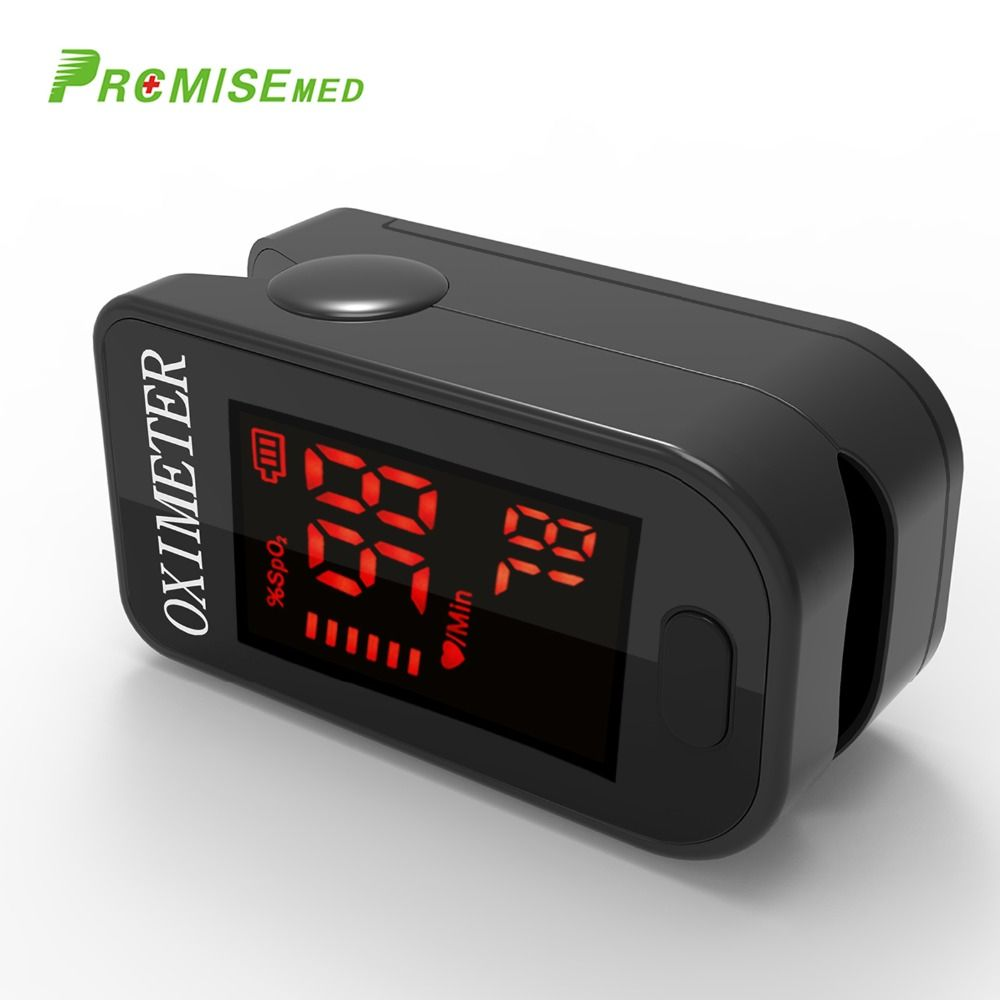 Household Health Monitors Oximeter CE Medical Heart Rate Monitor LED Fingertip Pulse Oximeter Finger Blood Oxygen-Cool Black