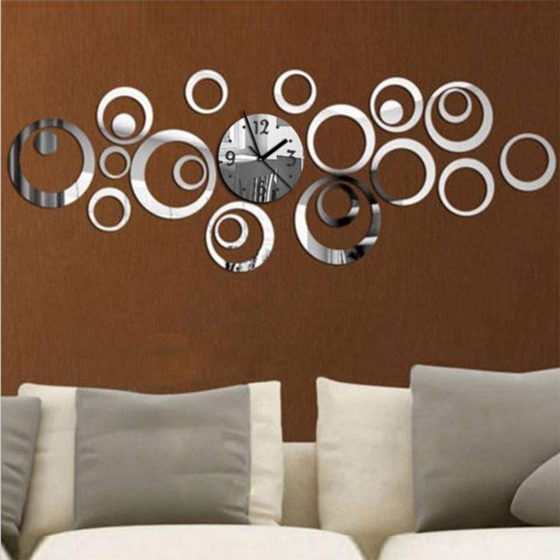 2017 Nouveau Quartz Horloge Murale Moderne Design Reloj De Pared grand Décoratif Horloges 3d Diy Acrylique Miroir Salon Livraison gratuite