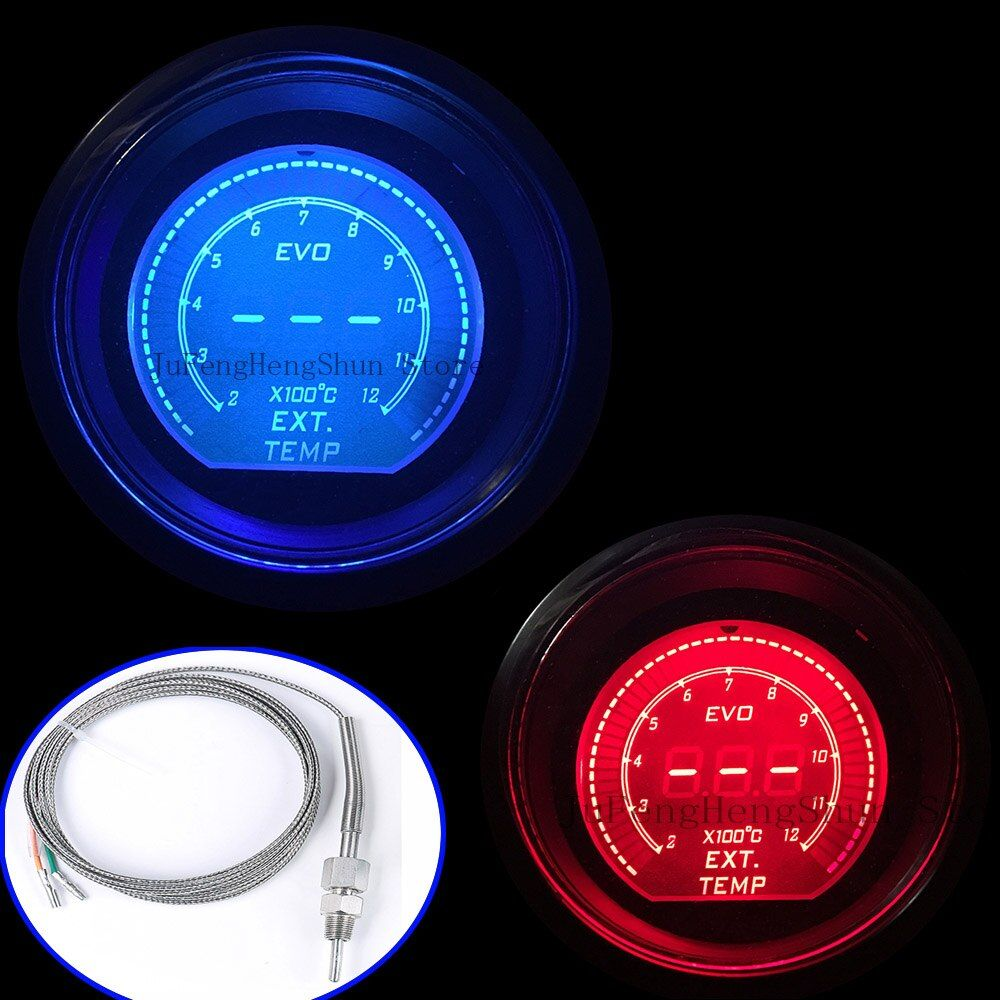 52mm EVO Car Exhaust Gas Temperature Gauge Celsius Digital Red Blue Led EXT. Temp Meter 2 inch 12V Auto Instrument With Sensor